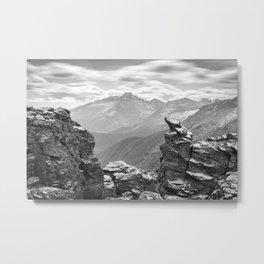 Longs Peak Black & White Colorado Rocky Mountain National Park Landscape Metal Print