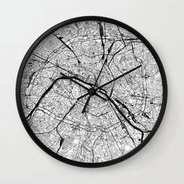Paris Black and White Map Wall Clock
