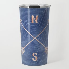 Rosegold and Blue Compass Travel Mug