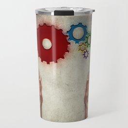 hand holding cogs Travel Mug