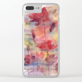 Poppies, watercolor artwork (nature) Clear iPhone Case