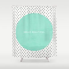 MINT HELLO BEAUTIFUL - POLKA DOTS Shower Curtain