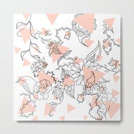 Modern hand drawn floral black illustration abstract blush pink geometric triangles Metal Print