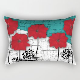 Applique. Poppies on turquoise black white background . Rectangular Pillow