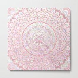 Light Coral and White Mandala Metal Print