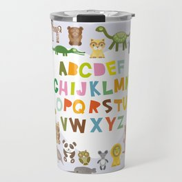 back to school. alphabet for kids from A to Z. funny cartoon animals Travel Mug