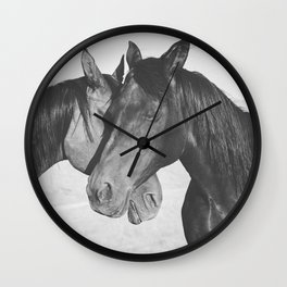 Horse Hug in Black and White Wall Clock