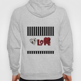 Valentine's day . Love. Black and white striped background . 2 Hoody