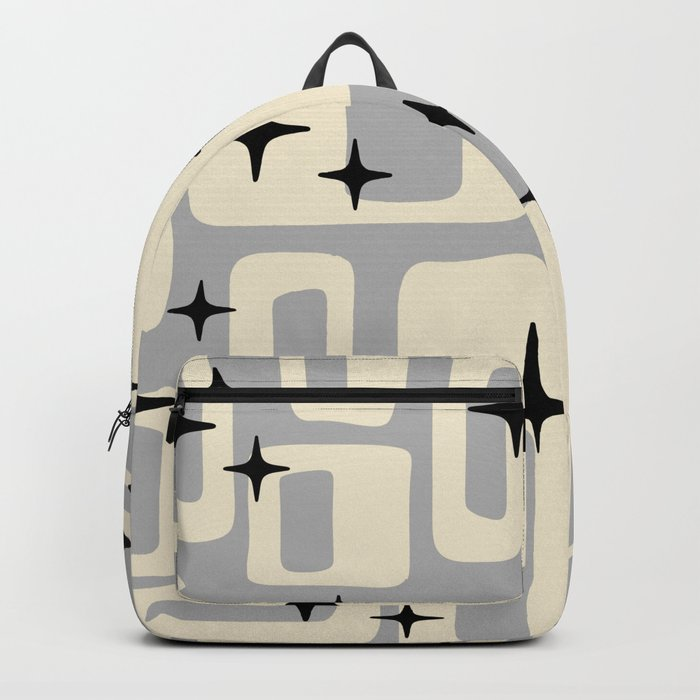 Retro Mid Century Modern Abstract Pattern 576 Gray Black Backpack