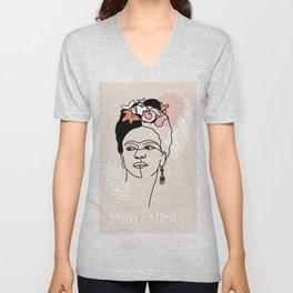 Brave and Strong Feminist Icon portrait Unisex V-Neck