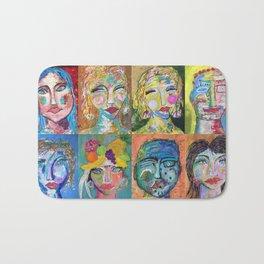 Twelve Intriguing Faces - Modern Art Abstra Bath Mat