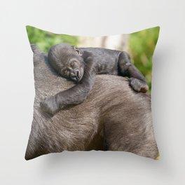 Gorilla Baby Riding On Mum's Back Throw Pillow