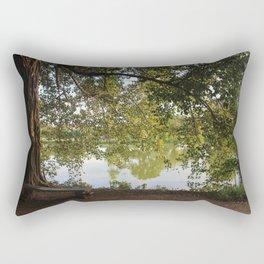 A bench under a tree Rectangular Pillow