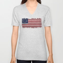 Thirteen point USA grungy flag Unisex V-Neck