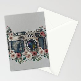 Camera with Summer Flowers Stationery Cards