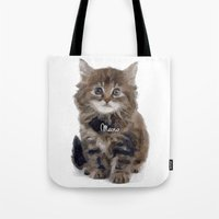 meow Tote Bags featuring Meow! by 83 Oranges™