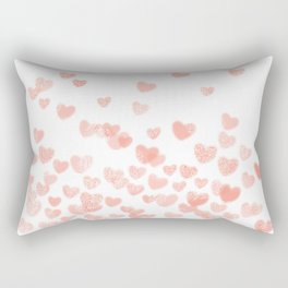 Hearts falling painted pastels heart pattern minimal art print nursery baby art Rectangular Pillow