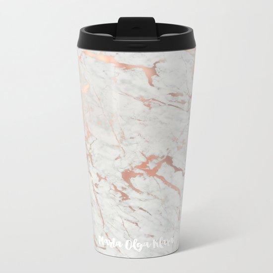 Rose gold marble Metal Travel Mug