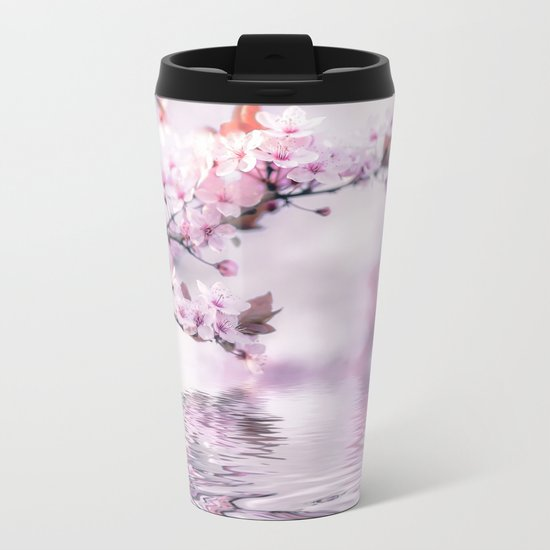 Zen Style Cherry Blossom and Water Metal Travel Mug