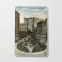 Vintage Bowling Green Park in NYC Artwork (1918) Metal Print