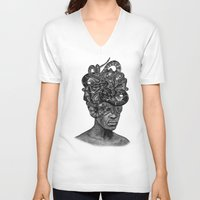 medusa V-neck T-shirts featuring MEDUSA by DIVIDUS