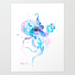 Sky Blue Soft Pink Turquoise Violet Octopus, teal animal beach art Art Print