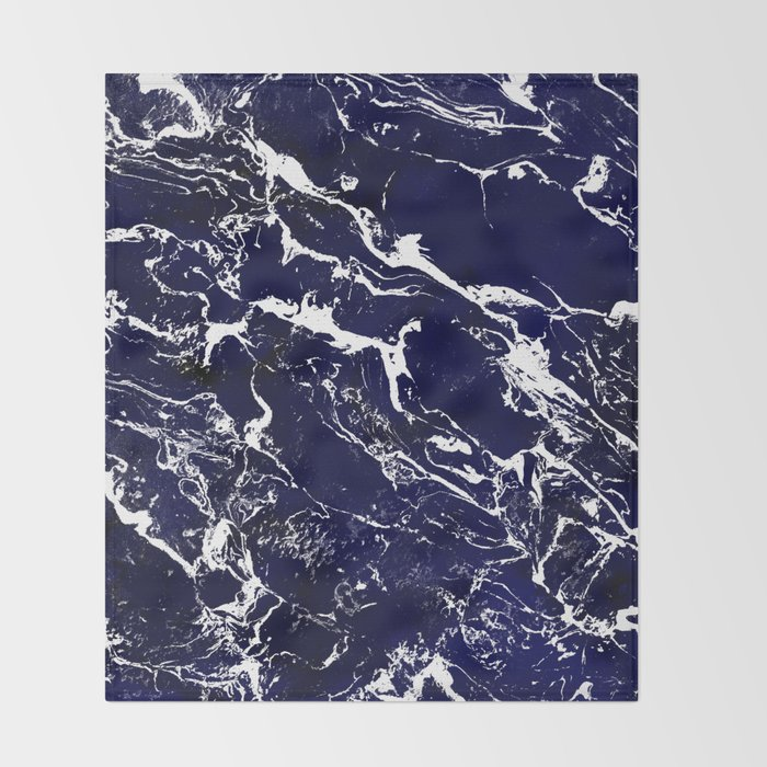 Modern Navy blue watercolor marble pattern Throw Blanket
