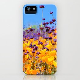 Orange Poppies and Purple Wildflowers with Butterfly (2) by Reay of Light iPhone Case