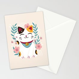 Japanese Lucky Cat with Cherry Blossoms Stationery Cards