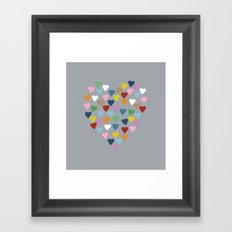 Hearts Heart Multi Grey Framed Art Print