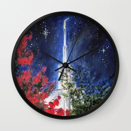 Atlanta Georgia LDS Temple Night Flowers Wall Clock