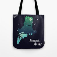 maine Tote Bags featuring Almost, Maine by Typo Negative