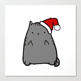 Christmas Cat Double Bird Canvas Print