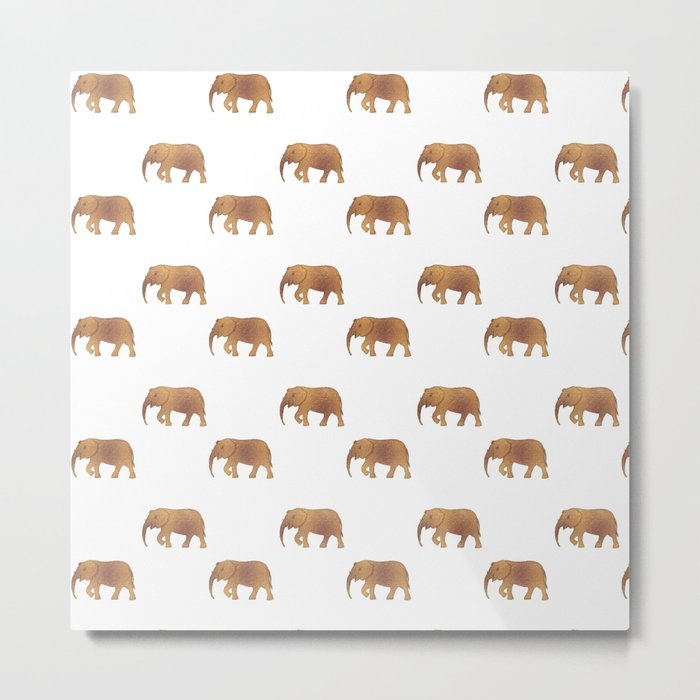 Golden elephants on a white background . illustration pattern . Metal Print