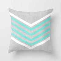 monika strigel Throw Pillows featuring Teal and White Chevron on Silver Grey Wood by Tangerine-Tane