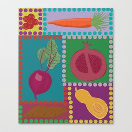 Fun Fruits and Veggies Canvas Print