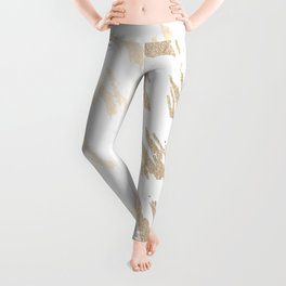 Luxe Gold Brush Polka Splotch on White Leggings