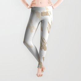Luxe Gold Brush Polka Splotch on White Leggings