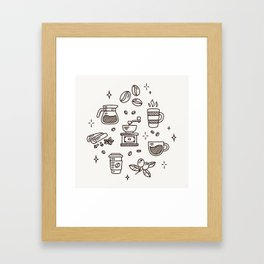 Coffee Doodles Framed Art Print