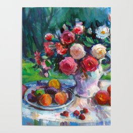 Fruits & Rose Flowers Poster