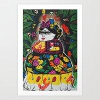 potato Art Prints featuring Frida Potato by cristenhoyt