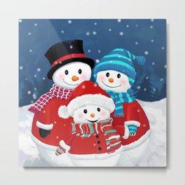 Christmas Snowman Family Series Metal Print
