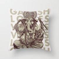 ganesh Throw Pillows featuring Ganesh by _MattVector