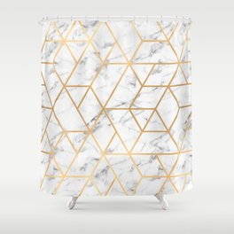 Marble & Gold Geo Lines Shower Curtain