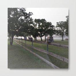 Birdhouses in the Morning Fog Metal Print