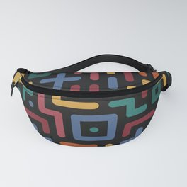 Colorful geometry line art pattern on black Fanny Pack