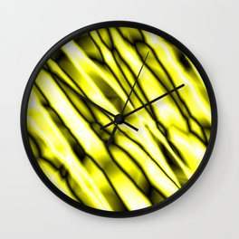 Shiny metal crooked mirror with yellow reflective diagonal stripes. Wall Clock