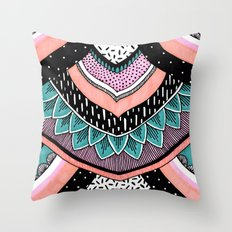 Pink & Coral Feather Pattern Throw Pillow
