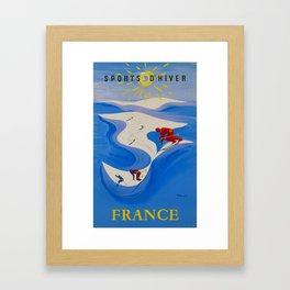 Vintage Winter Sports in France Travel Framed Art Print