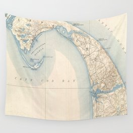 Vintage Map of Lower Cape Cod Wall Tapestry